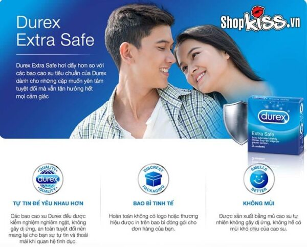 Bao cao su Durex Extra Safe hộp 3 cái chất lượng tốt