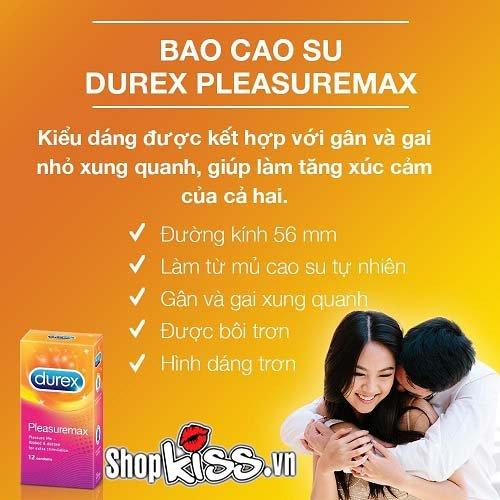 Bao cao su gân gai Durex Pleasuremax hộp 3 cái giá rẻ tại tphcm