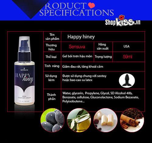 Gel bôi trơn hậu môn Happy Hiney Sensuva G03C giá rẻ tại tphcm