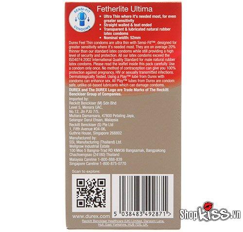 bao cao su siêu mỏng Durex Fertherlite Ultima hộp 12 chiếc giá bao nhiêu