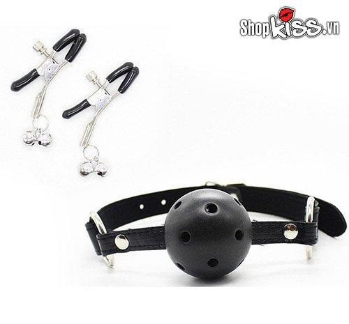 Bộ đồ chơi bạo dâm da đen QT09 gồm khóa hàm và kẹp núm