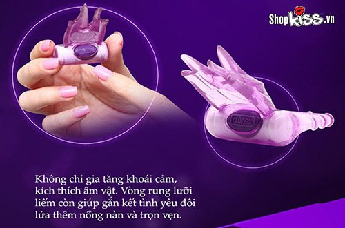 Vòng rung lưỡi liếm Durex Play Bliss DC59C thiết kế nhỏ gọn thích hợp mang theo sử dụng khi có nhu cầu.