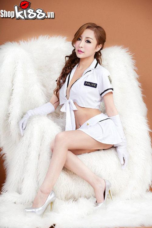 đồng phục cảnh sát nữ cosplay màu trắng gợi cảm