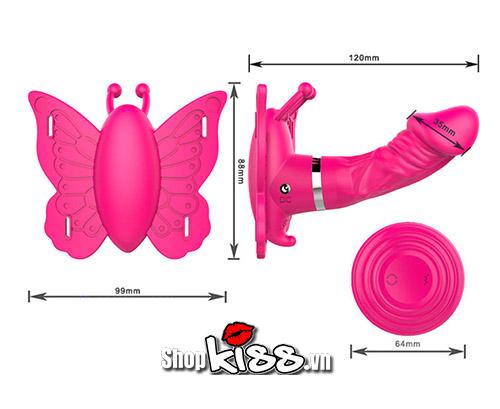 kích thước của Dương vật giả cao cấp hình bướm Camille DC38N