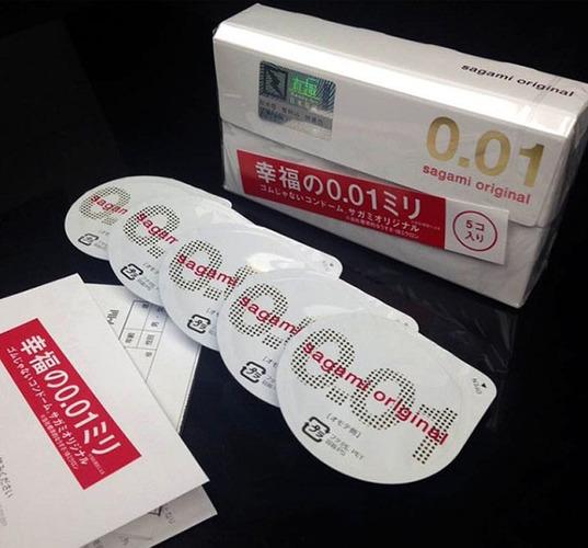 Bao cao su siêu sướng Sagami Original 0.01 hộp 5 chiếc