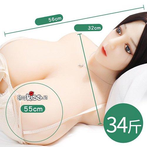 búp bê tình dục bán thân có mặt vú to (AD38N) bằng silicone siêu mịn màn