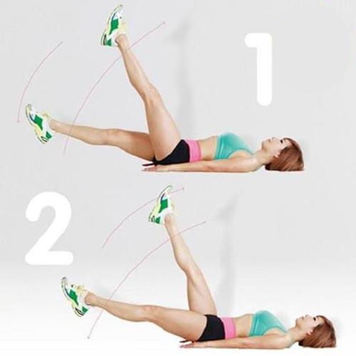 bài tập giảm mỡ bụng nâng chân cắt kéo
