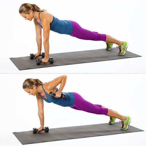 tập plank kết hợp tạ tay