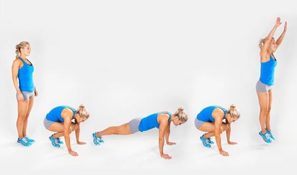 tập plank kết hợp nhảy cóc với hít đất