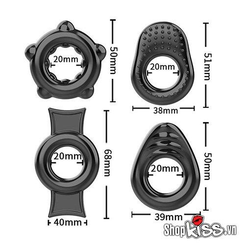 kích thước Bộ 4 vòng đeo dương vật bằng silicone