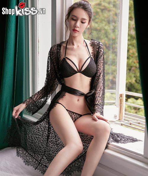 Set bikini 2 mảnh ren xuyên thấu kèm áo choàng TT10 giá bao nhiêu