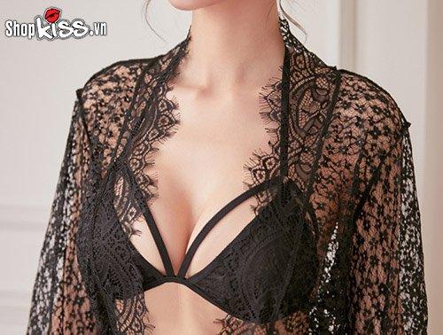 Set bikini 2 mảnh ren xuyên thấu kèm áo choàng TT10 tại shopkiss