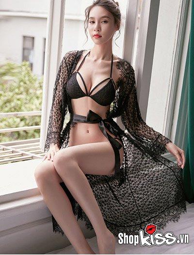 Set bikini 2 mảnh ren xuyên thấu kèm áo choàng TT10 giá rẻ