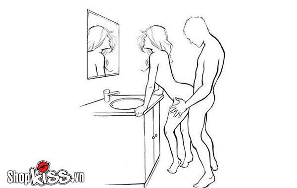 Tư thế quan hệ đứng trong nhà tắm