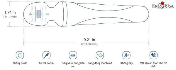 Kích thước của chày rung cao cấp Lovense DOMI2