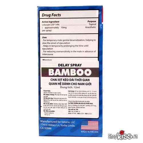 Chai xịt chống xuất tinh sớm Bamboo Delay XTS12 tại hà nội